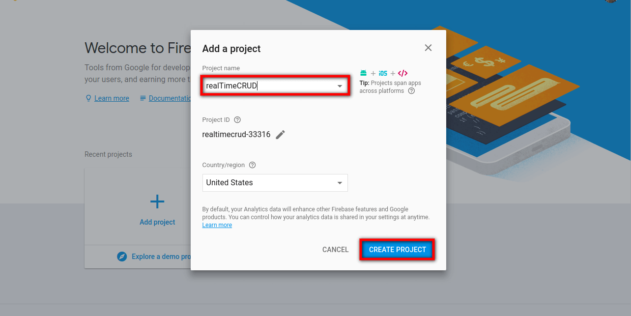 How to create google firebase project - Laravelcode