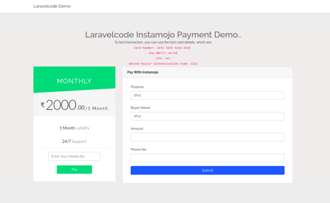 Laravel 5.6 - Card Payment Integration With Instamojo Payment Gateway