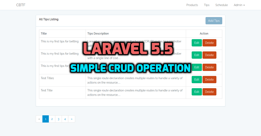 Laravel 5.5 - simple crud operation with example