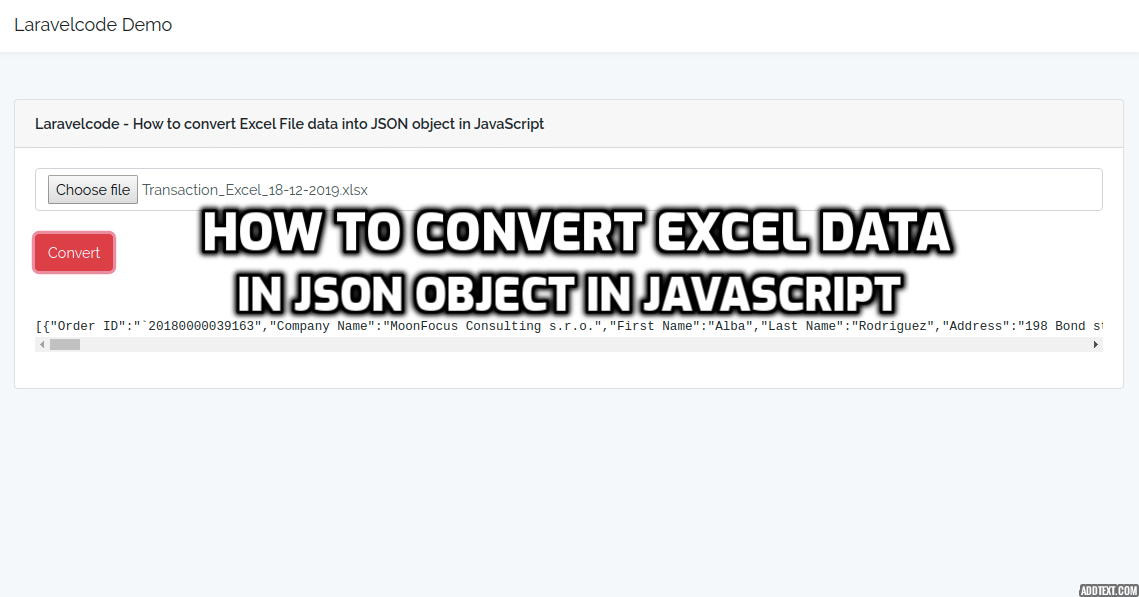 How to convert Excel File data into JSON object in JavaScript?