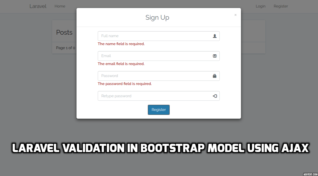 Laravel Validation In Bootstrap Model Using Ajax - Laravelcode