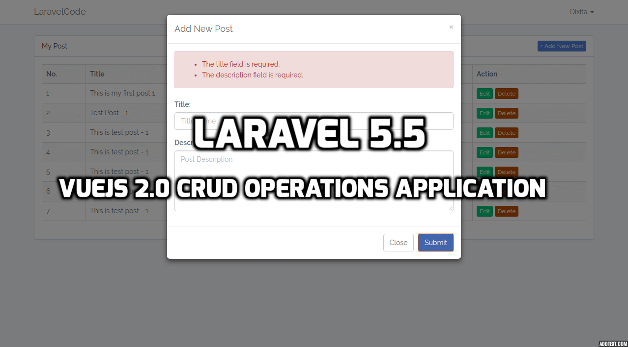 Laravel 5.5 - VueJS 2.0 CRUD Operations