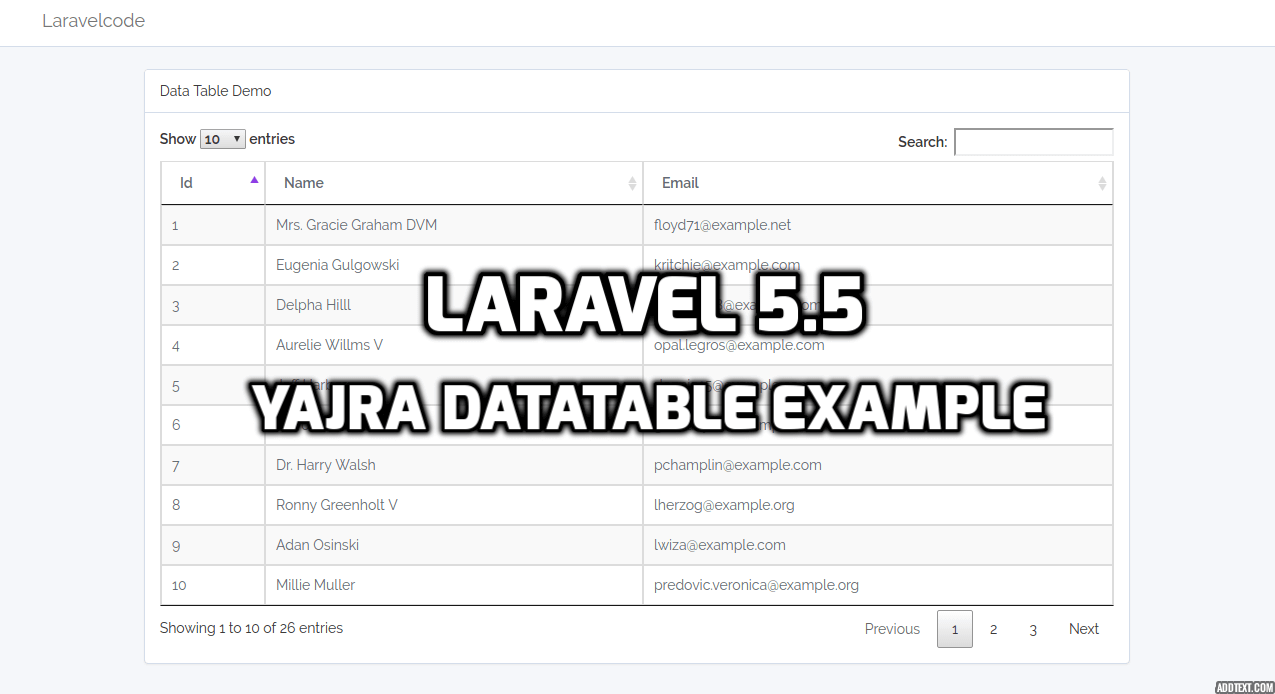 Laravel 5.5 - Yajra Datatable Example