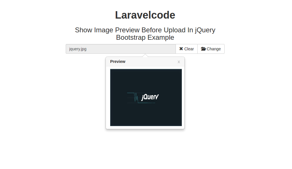 Show Image Preview Before Upload In jQuery Bootstrap Example